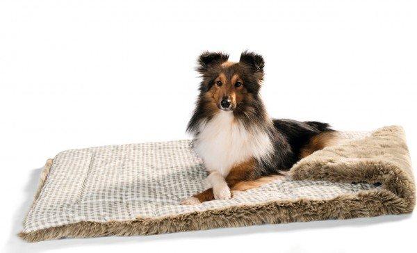 HUNTER Hundedecke Astana mit Plüsch 120 x 80 cm Karo braun