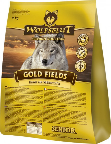 WOLFSBLUT Gold Fields Senior mit Kamel & Süßkartoffel Hundetrockenfutter