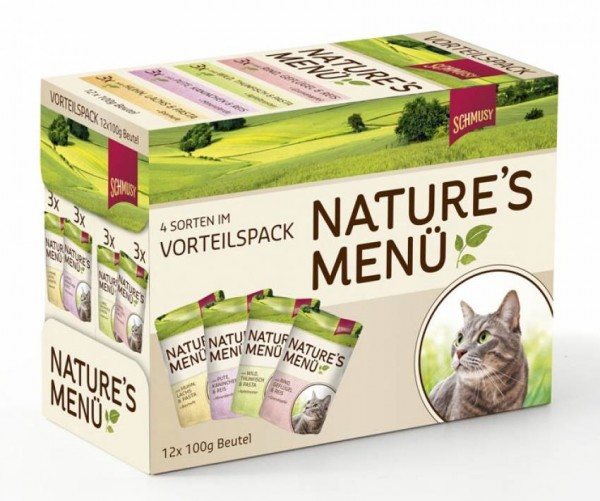 SCHMUSY Nature Mix 4 Sorten 12 x 100g Multipack Katzennassfutter