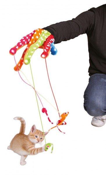 TRIXIE Spielhandschuh mit 4 Mäusen
