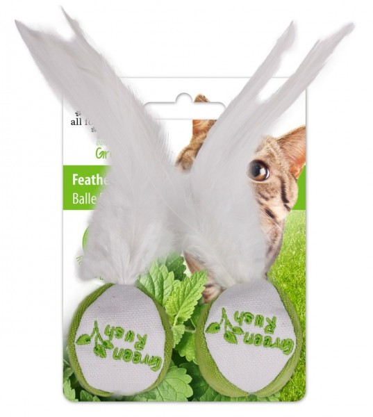 all for paws (afp) GreenRush FeatherBall mit Katzenminze (2 Stück) Katzenspielzeug