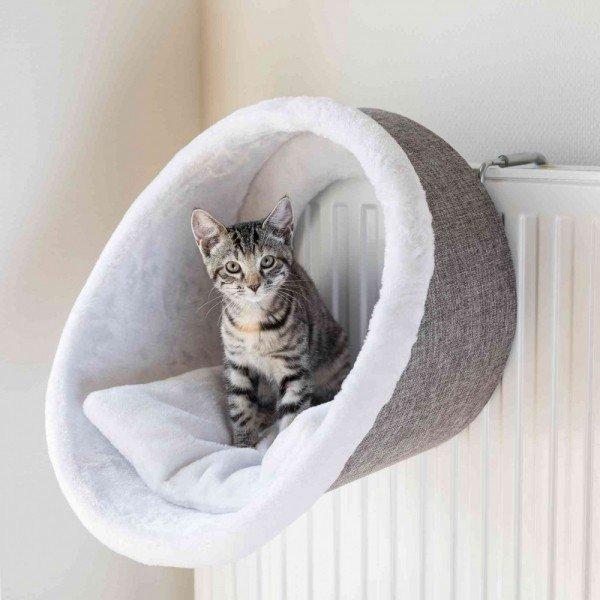 TRIXIE Hängehöhle für Heizkörper rund ø38x34cm weiß/grau Katzenmöbel