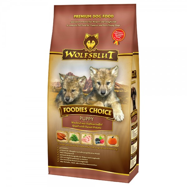 WOLFSBLUT Foodies Choice Puppy Wachtel mit Süßkartoffel 2kg Hundetrockenfutter
