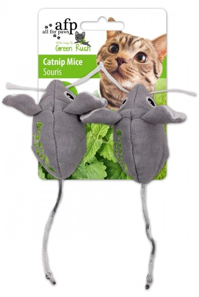 all for paws (afp) Green Rush Catnip Mice (2 Stück) Katzenspielzeug