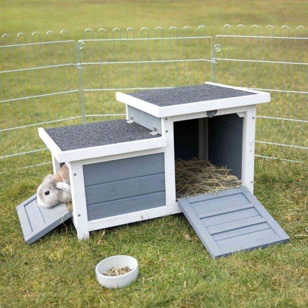 TRIXIE natura Kleintierhaus mit 2 Eingängen 70x45x43cm grau/weiß