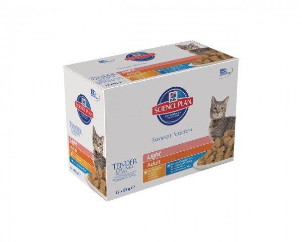 Hill's SP Feline Adult Light Huhn & Seefisch 12 x 85g Multipack Frischebeutel Katzennassfutter