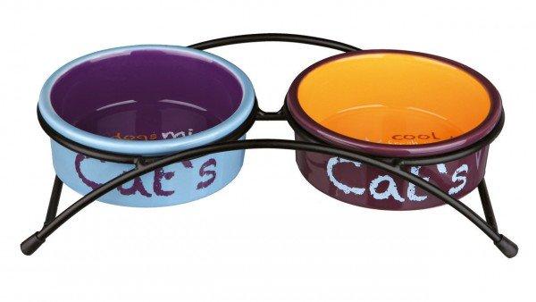 TRIXIE Napf-Set Eat on Feet 2 x 0,3 Liter / ø 12 cm hellblau/orange/lila