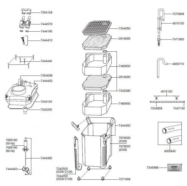 EHEIM 7444578 Adapter kompl. Ersatzteil für 2026/2028/2126/2128