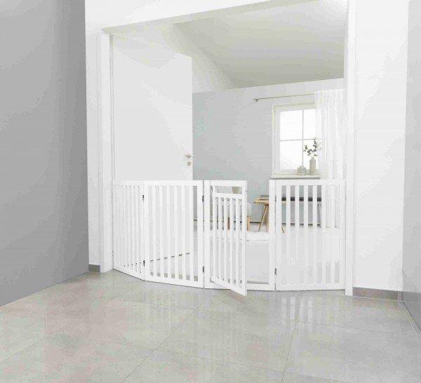 TRIXIE Hunde-Absperrgitter 4-teilig mit kleiner Tür 60-160x81cm weiß