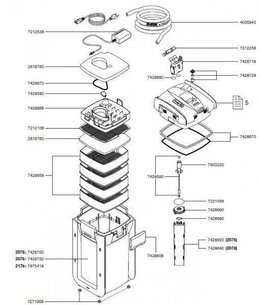 EHEIM 7428718 Adapter Ersatzteil für 2271/73/74/75, 2371/73, 2071/73/74/75, 2076/278