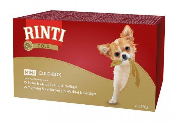 RINTI Gold Mini Goldbox 8x100g Schalen Multipack Hundenassfutter