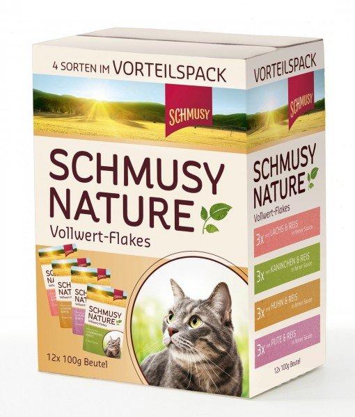 SCHMUSY Nature Vollwertflakes 12 x 100g Multipack Katzennassfutter