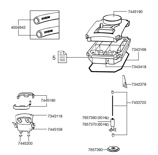 EHEIM 7657360 Pumpenrad Ersatzteil für 2222-2324, 2422/2424, 2124