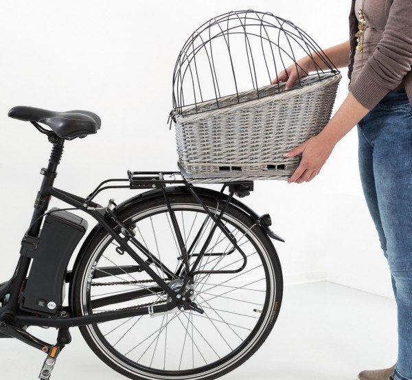 TRIXIE Fahrradkorb mit Gitter 35x49x55cm aus Weide weiß/grau