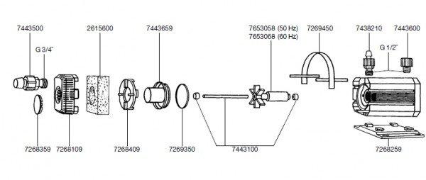 EHEIM 7443100 Achse mit Tüllen Ersatzteil für 1060/1260/1262,2260