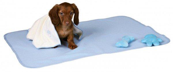 TRIXIE Welpen-Set mit Decke, Spielzeug und Handtuch hellblau