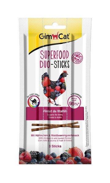 GimCat Superfood Duo-Sticks Duo-Sticks mit Hühnchen & Waldbeerengeschmack 5g (3 Stück) Katzensnack