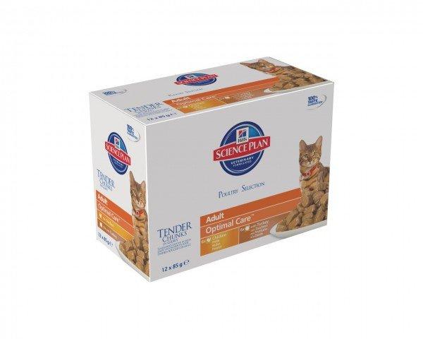 Hill's SP Feline Adult Huhn & Truthahn 12 x 85g Multipack Frischebeutel Katzennassfutter
