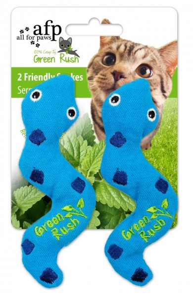 all for paws (afp) Green Rush Silly Snake (2 Stück) Katzenspielzeug