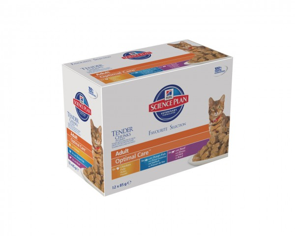 Hill's SP Feline Adult Huhn, Seefisch & Rind 12 x 85g Multipack Frischebeutel Katzennassfutter