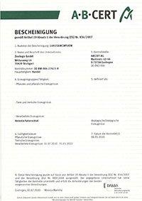 Öko Zertifikat