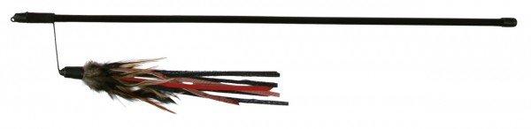 TRIXIE Spielangel mit Lederbändchen und Federn 50 cm