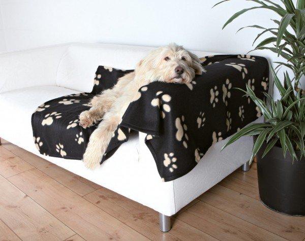 TRIXIE Fleecedecke Barney 150 x 100 cm schwarz/beige Pfoten