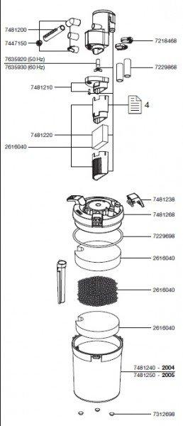 EHEIM 7433710 Achse mit Tüllen Ersatzteil für 2048/2211/2213/2313