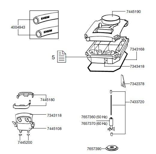 EHEIM 7445108 Adapter komplett Ersatzteil für 2222-2324