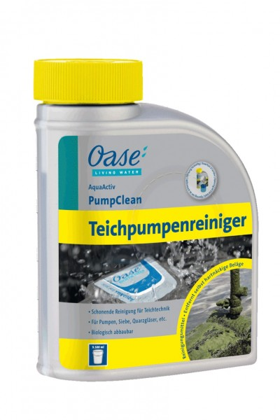 oase aquaactiv pumpclean 500ml teichpumpenreiniger teichreinigung teichpflege teich petotal. Black Bedroom Furniture Sets. Home Design Ideas
