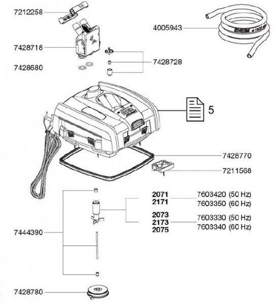 EHEIM 7428680 Satz Dichtungen für Adapter und Trennwand Ersatzteil für 2271/73/74/75, 2371/73, 2076/