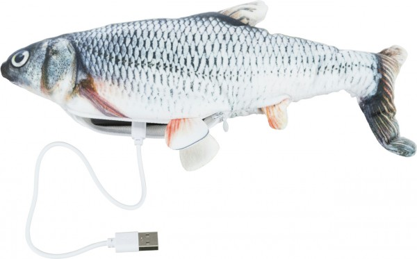 TRIXIE Zappelfisch aus Stoff mit Katzenminze 30cm Katzenspielzeug