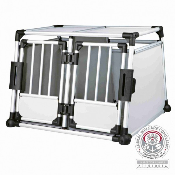 TRIXIE Transportbox doppelt Aluminium M-L 93x88x64cm