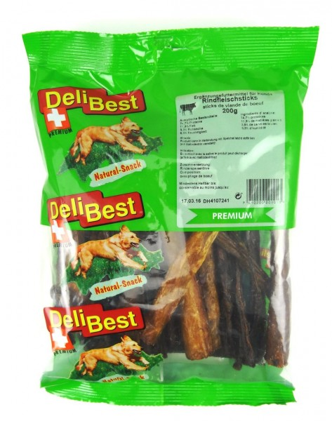 DeliBest Rindfleisch Sticks 200g Hundekauartikel