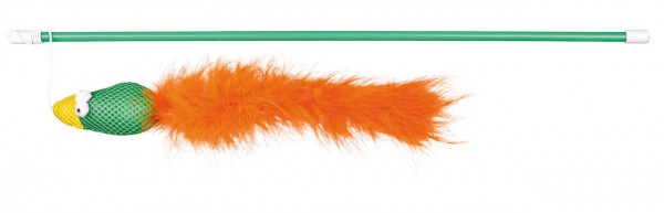 TRIXIE Spielangel mit Vogel und Federn 50 cm